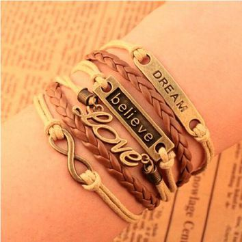 Multi 5 Layer Dream, Believe, Love, Infinity Charms Wrap Bracelet Faux Brown Leather/Suede