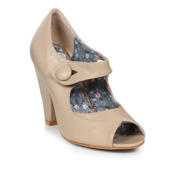 Ellie Shoes E-BP403-Shelly Peep Toe Heel With Button Detal Closure