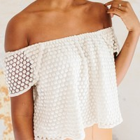 CREAM OFF SHOULDER CROCHET TOP BY WHITNEY EVE