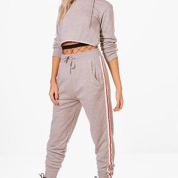 Eleanor Contrast Tape Sleeve Hoodie & Jogger Set | Boohoo