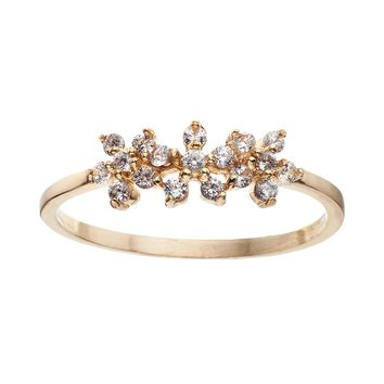 LC Lauren Conrad Triple Flower Ring (Gold Tone)