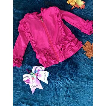 New Fall & Holiday Hot Pink Ruffle Cotton Jacket With Hood