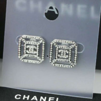 Chanel silver rhinestone shining two pieces earrings