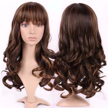 17 inches Long Curly Layer Cosplay Wig Costume Full Wigs Hairpieces