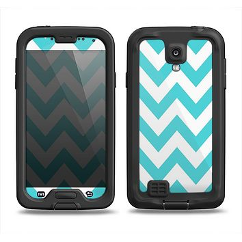 The Subtle Blue & White Chevron Pattern Samsung Galaxy S4 LifeProof Nuud Case Skin Set