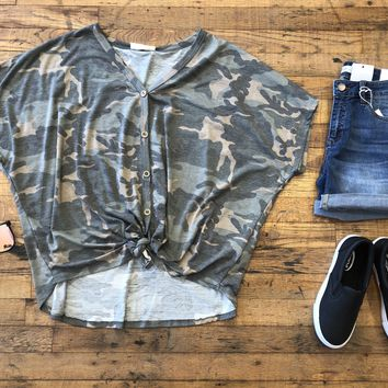 Kennedy Camo Tie Front Top