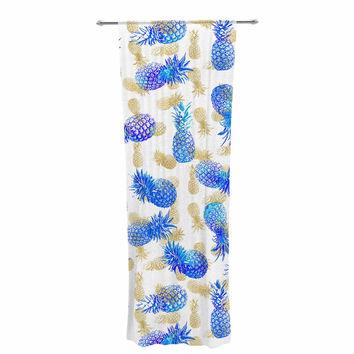 "Noonday Design ""Pineapple Party"" Blue Illustration Decorative Sheer Curtain"