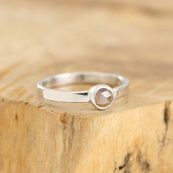 Rose cut diamond ring Chocolate diamond engagement ring in hammered sterling silver Diamond stacking ring Modern jewelry by Freesize