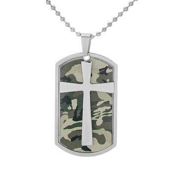 Stainless Steel Camouflage Cross Dog Tag Necklace - Men (Grey)