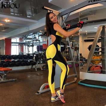 0d520c5b314 Kliou women yellow patchwork sporting jumpsuits elastic skinny fitness  bodysuit female sexy backless hollow out mesh