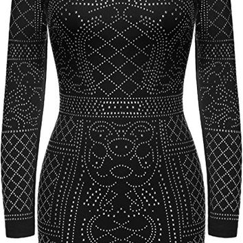 Women Rhinestone Embellished Bodycon Slim Fit Sequin Club Dress