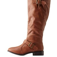 Chestnut Double Belted Riding Boots by Charlotte Russe