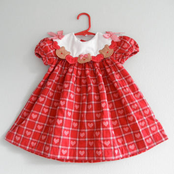 Baby Girl Dress Red Teddy Bear And Hearts Clothing Newborn Infants Long Gown Gently Used Clothes Baby Photo Props  CIJ