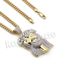 Lab diamond Micro Pave 2Pac Jesus Face Pendant w/ Miami Cuban Chain BR110