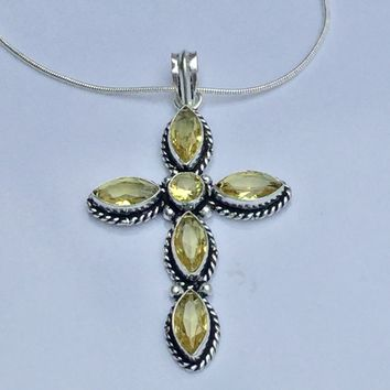 "Lemon Quartz sterling silver 2"" cross pendant"