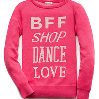 FOREVER 21 GIRLS BFF Sweater (Kids) Neon Pink/Cream Small