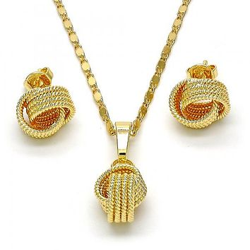 Gold Layered 10.63.0514 Earring and Pendant Adult Set, Love Knot and Twist Design, Polished Finish, Golden Tone