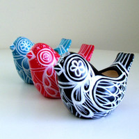 Ceramic Bird Planter Painted Swedish Folk Art Vase Tattoo Black White Blue Red Hearts - READY TO SHIP