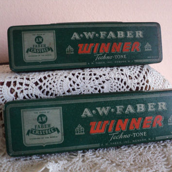 Metal Tin Pencil Case A.W. Faber WINNER Techno Tone Sketching Pencils Metal Tin Case Made in 1941 Set of 2