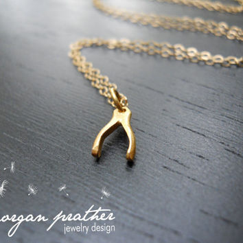 Wishbone Necklace in Gold - Gold Filled Fine Chain - Perfect Gift - Lucky Necklace - morganprather
