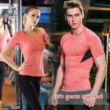 YD 2017 Logo Custom Valentine'S Day Dry Quick Compression Tights Men's T-Shirt Fitness Women Tee Tops Elastic Couple Sports Suit