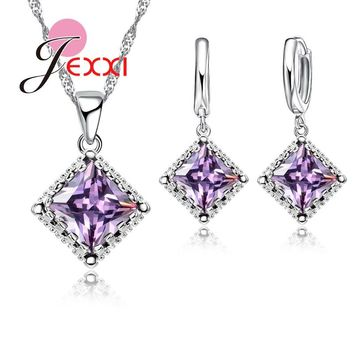 Jemmin Top Quality Women Amethyst 925 Sterling Silver Pendant Necklace Earrings Set For Engagement Bridal Wedding Jewelry Sets