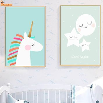 Canvas Art Print Unicorn Moon Star Wall Art Canvas Painting Nordic Posters And Prints Animal Wall Pictures Baby Kids Room Decor