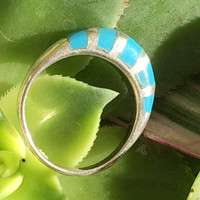 Ring, Turquoise, Sterling Silver, Boho, Hippie, Vintage, Indie, Boho Rings. Gypsy, Midi