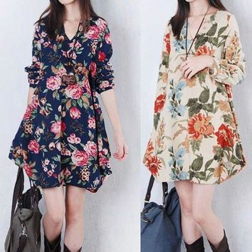 ONETOW Fashion Summer Women Short Dress Cotton Hemp Flower Printed Long Sleeve V Collar Elegant Loose Ladies Sexy Beach Dresses FS99