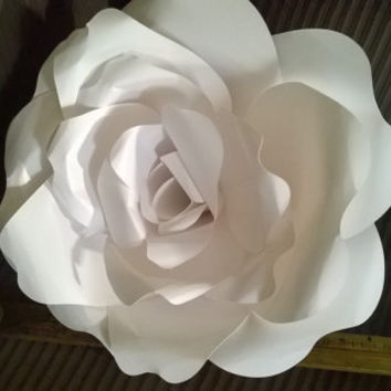 Any Color XL Paper rose flower 12 inch Giant size bridal bouquet alternative 3D wall art White wedding party shower decoration