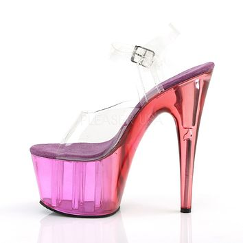 "Adore 708MCT Clear Purple Tint Ankle Strap Upper & Platform 7"" High Heel Shoes"