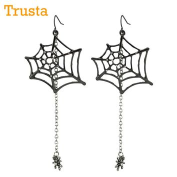 "Trusta Hot sell Fashion Jewelry Black Spiders 3.5""Dangle Drop Earrings ZZI Cool For Hallowen Costume freeshipping"