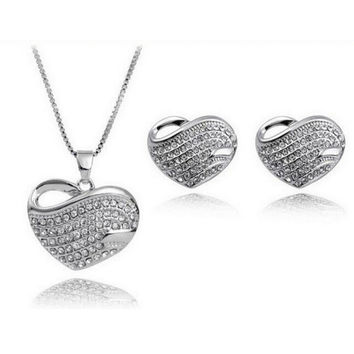 Heart with Full Rhinestones Necklace + Earrings Set