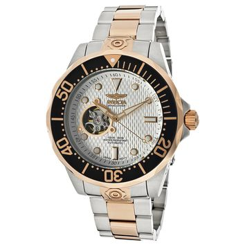 Invicta 13707 Men's Grand Diver White Dial Two Tone Rose Gold Plated Steel Bracelet Automatic Dive Watch