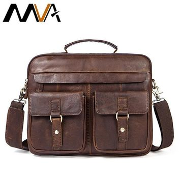 Messenger Bags men Genuine Leather Briefcases Male Men for Documents Laptop Leather business bags