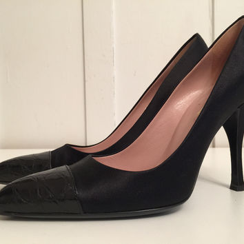 Prada Calzature Donna Black Leather Pumps With Pointed Crocodile Leather Cap Toe And Stiletto Heels Eu 38 Us 8 (Small/Indie Brands)