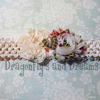 Baby Girls Headband, Baby Headband, Creme Headband, Chiffon Flower Headband, Victorian Headband, Headband for Girls, Baby Hair Accessories