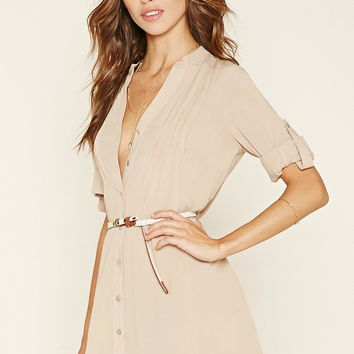 Belted Button-Front Shirt | Forever 21 - 2000219912