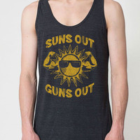 Suns out Guns out work out exercise muscle shirt beach ocean fitness cool - Unisex Tank Top - 276