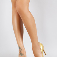 Gold Snake Print Pumps