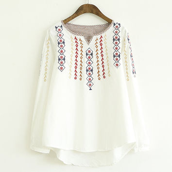 Vintage Floral Embroidery Long Sleeve Blouse