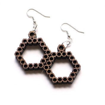 eco friendly geometric pattern bamboo wood earrings - Bamboo Hexagon Earrings. natural bamboo