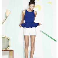 alice + olivia | SLEEVELESS PONTI PEPLUM TOP