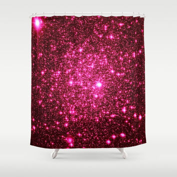 Hot Pink Astral Glitter Shower Curtain by 2sweet4words Designs