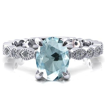 Polaris Oval Aqua Blue Spinel 4 Claw Prong Diamond Halo Full Eternity Engagement Ring