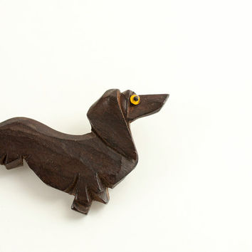 Vintage Dachshund Dog Wooden Pin Brooch Handcarved