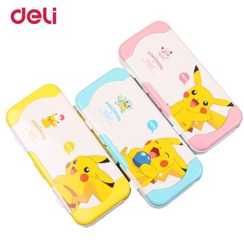 Deli cute children multifunctional three-layer pencil box  plastic school pencil cases gifts ruler Pikachu stationery setKawaii Pokemon go  AT_89_9