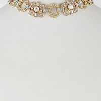 """14"""" gold crystal choker collar necklace bridal prom 1"""" wide"""