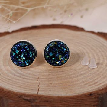 Doreen Box Copper Ear Post Stud Earrings Round Royal Blue AB Color W/ Stoppers Fashion Jewelry Gift 16mm x 14mm,1 Pair 2017 new