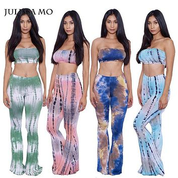 Julissa Mo Women Two Piece Jumpsuit Tie Dye Printed Rompers Jumpers For Summer Sexy Combinaison Femme Playsuit Bodysuit Overalls